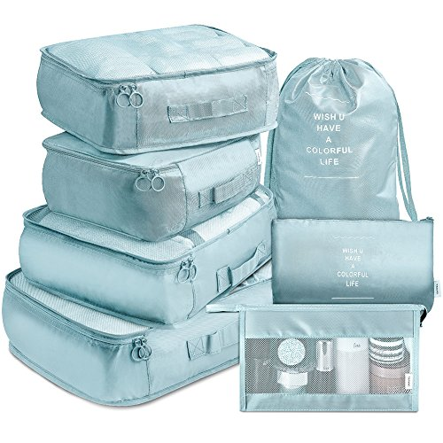 Packing Cubes 7 Pcs Travel Luggage Packing Organizers Set with Toiletry Bag (Pale blue)