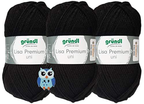 3x50 Gramm Gründl Lisa Premium Uni aus 100% Polyacryl Häkelgarn Schulgarn + 1 Eulen Knopf (26 Schwarz)