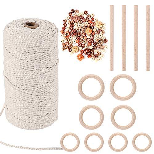 HUTHIM Macrame Cuerda 3mm x 150m y 110 Perlas, 100% Algodó Cordel Hilo Natural, para Macramé Colgador de Plantas DIY Artesanía Decoración Bohemia, Beige