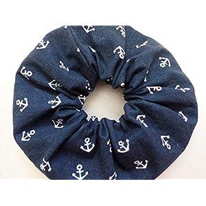 Anker Haargummi Baumwolle – Scrunchie Marine blau – Haar Accessoires