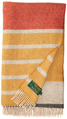 "Biddy Murphy Wool Throw Blanket 100% Merino Wool Throw 75"" Long by 58"" Wide Fringed Made in Ireland Yellow & White Stripe Navy & Orange"