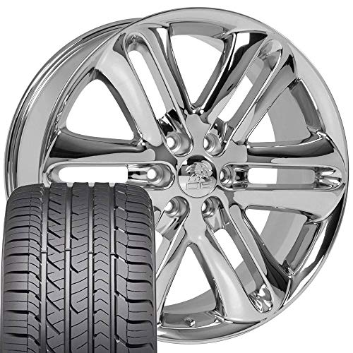 22x9 Wheels & Tires Fit Ford Trucks - F150 Style Chrome Rims and Goodyear Tires, Hollander 3918 -...