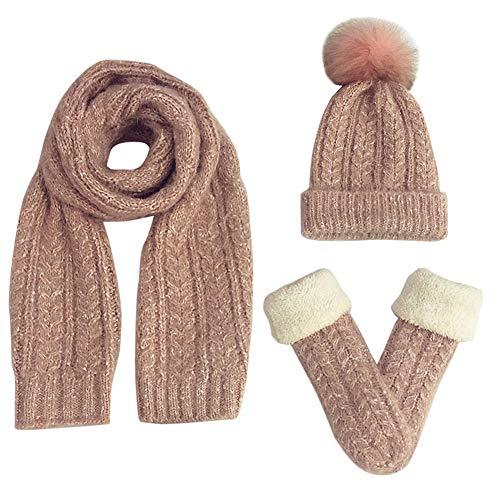FEOYA Damen Winter Warme Gestrickt Mütze Schal Handschuhe Weich Strickset Bommel Wollmütze Strickschal