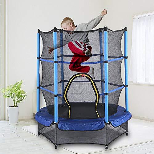 Cama elástica de jardín, 140 cm, cama elástica para niños, 50 kg, juego completo con esterilla de salto y red de seguridad cerrada, color azul