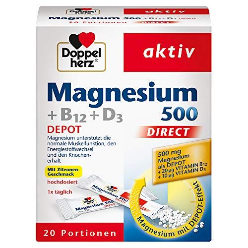 Doppelherz Magnesium 500 + B12 + D3 DIRECT DEPOT - Magnesium für die normale Funktion der Muskeln und des Nervensystems - 1 x 20 Portionsbeutel
