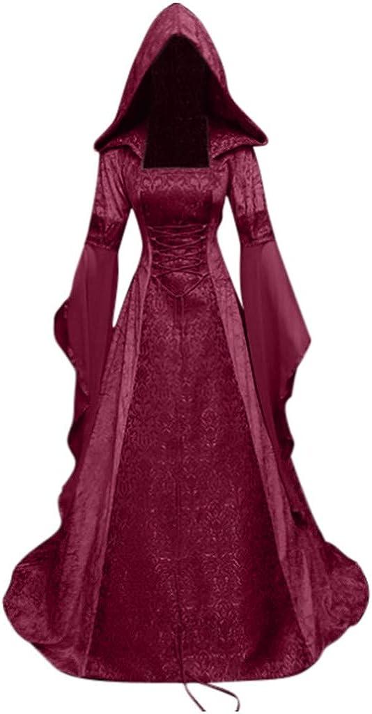 Allegorly Robe Medievale Femme Renaissance Robe Victorienne Robe Gothique Longue Deguisement M/éDieval Cosplay Medieval Vintage Jupe Retro Robe Soiree Tuniques Femmes Dentelle