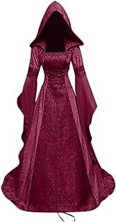 Novelty Dresses for Women Medieval Dress Renaissance Lace Up Vintage Gothic Dress Floor Length Hooded Cosplay Dresses