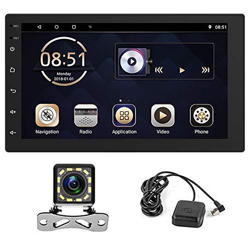 Android 9.0 Radio de Coche de Doble DIN con GPS,Manos Libres Bluetooth/WiFi/FM/DVR,Reproductor Multimedia con Enlace de Sspejo,HD Pantalla Táctil de 6,8'',con Cámara de Visión Trasera