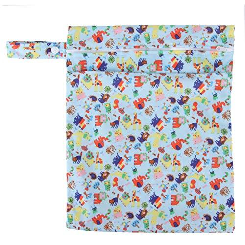 Bolsa de almacenamiento, bolsa de pañales de doble capa, para bebés y niños(Blue animal)