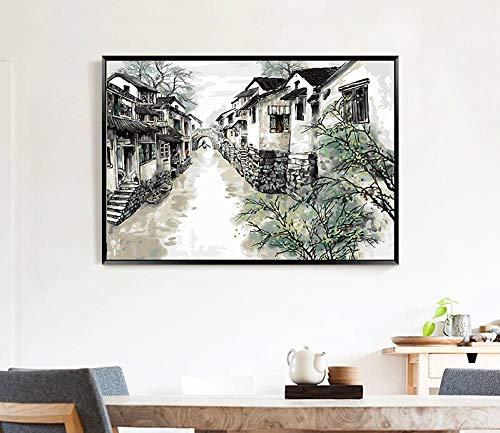 Digitales Ölgemälde DIY Landschaftsblumen hängen Gemälde Wohnzimmer Dekoration Gemälde handgemaltes Ölgemälde handgemachtes digitales Gemälde-Kleine Brücke fließendes Wasser