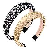 2 diademas de diamantes de imitación diademas con purpurina, diadema acolchada de diamantes de imitación con adornos de cristal, accesorios para el cabello para mujeres y niñas