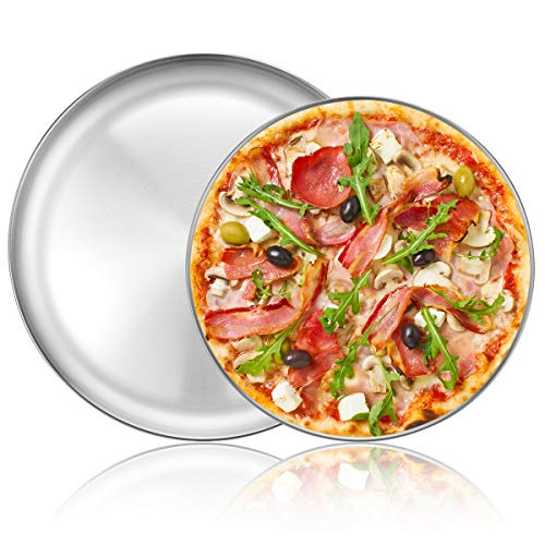 Deedro Pizza Baking Pan Pizza Tray - Stainless Steel Round Pizza Baking Sheet, Heavy Duty Pizza Crisper Pan for Oven, Dishwasher Safe Pizza Serving Tray, 12 inch & 13 inch, 2-Piece Set