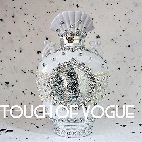 TOV Romany Vaso Bianco Argento con Fiori in Ceramica Decorazione Specchio Veneziano