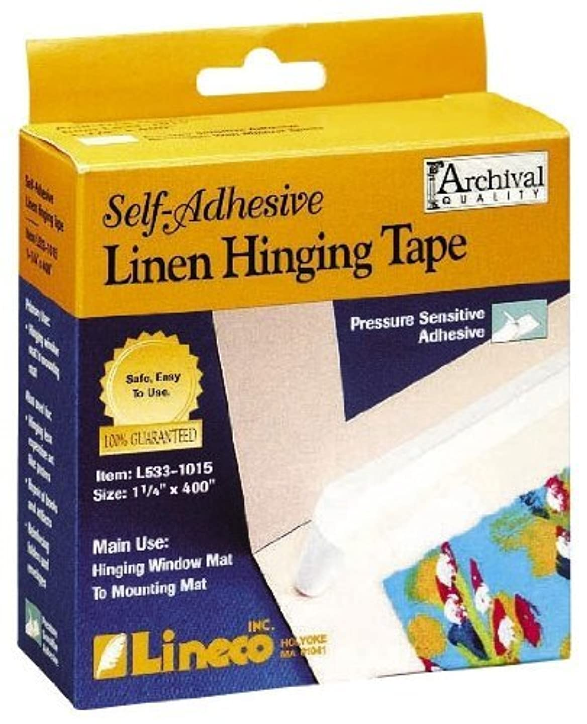 Lineco Self Adhesive Linen Hinging Tape 1.25 in. x 35 ft. white linen tape (2, White)
