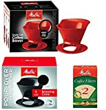 Melitta Ready Set Joe Single Cup Pour Over Coffee Brewer Maker – 1 Black & 1 Red + #2 Natural Brown Cone Coffee Filters 100-Count