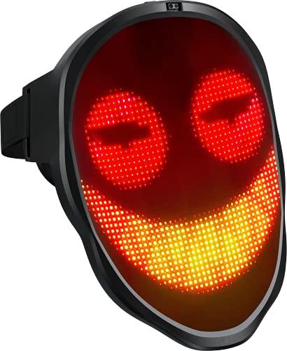 LEMNOI LED Máscara Disfraz de Luces Brillante con Bluetooth, Máscara Iluminada LED para Halloween Juguete de Mascarada de Disfraces Fiesta de Cosplay para Adultos