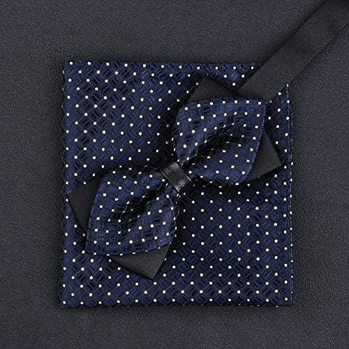 JIEIIFAFH 11 Colors Fashions Men's Bowtie and Pocket Squares Man Bow Tie Handkerchief Set Wedding Vintage Necktie (Color : B)