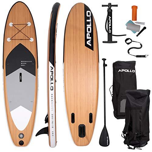 Apollo SUP Board Wood - Allround - 300 x 76 x 15 cm, iSUP Komplettset, Stand-up-Paddling Set, aufblasbares Board, inkl. Paddel, Pumpe und Reparaturset, für Anfänger und Profis
