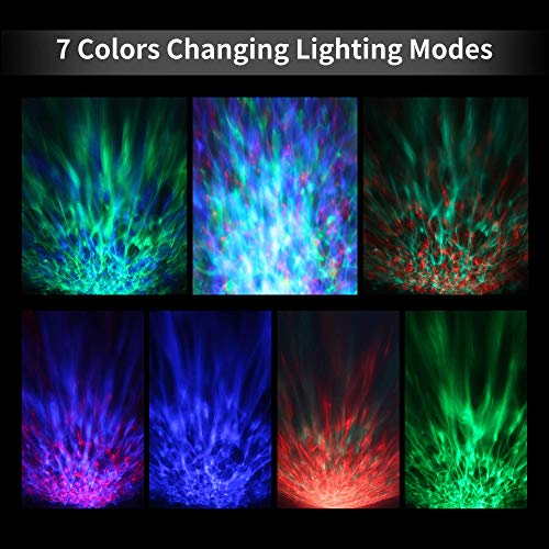 [Newest Design] Remote Control Ocean Wave Projector 12 LED &7 Colors Night Light with Built-in Mini Music Player for Living Room and Bedroom (12 LED Black)