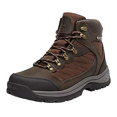 NORTIV 8 Men's Waterproof Hiking Boots Mid Ankle Hiker Mountaineering Trekking Work Boots Brown Size 11 M US Skyline
