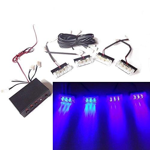 Viktion DC12V 5W 4 * 3 LEDs Feux de Pénétration Lumière Stroboscopique Eclairage Clignotant à 3 Modes pour Voiture Camion véhicule (Bleu)