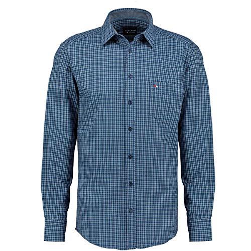 Jupiter Hemd Übergrößen Herren Kariertes Freizeithemd mit Brusttasche, Langarm blau_155 6XL