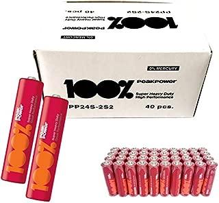 Peak Power PP24PP AAA İnce Kalem Pil 1.5 Volt, 40'lı Kutu, Kırmızı/Turuncu/Beyaz