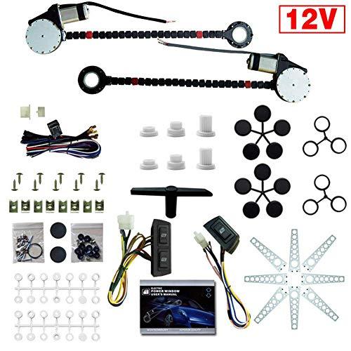 Kit de motores de ventanas eléctricas, kit de conversión de regulador de elevación de ventana de energía eléctrica de coche universal de 12 V para camión de 2 puertas SUV