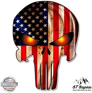 GT Graphics Punisher Skull American Flag - Vinyl Sticker Waterproof Decal
