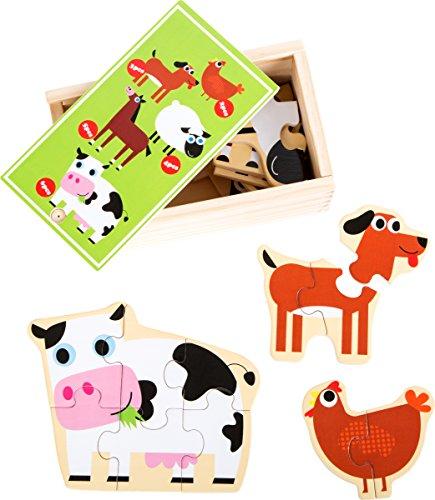 small foot 10547 puzzelbox voor het puzzelen van kip, hond, schapen, paard en koe van hout