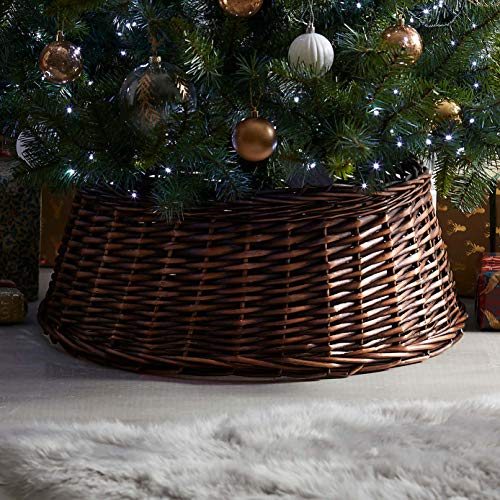 Greenleaves Natural Wicker Christmas Tree Skirt Xmas Stand Cover Xmas Decoration Basket (Large)