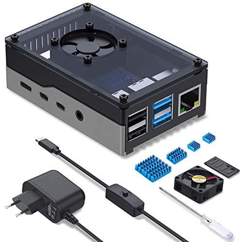 Miuzei Gehäuse für Raspberry Pi 4 mit Gehäuse Sichtbar Acrylic Lüfter kühlung Aluminium Kühlkörper 5 V 3A USB-C EIN/AUS-Schalter Netzteil Pi 4b Case kompatibel mit Raspberry Pi 4 Modell B 8GB/4GB/2GB