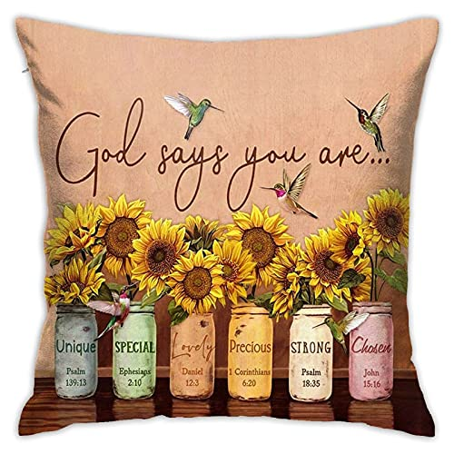 God Says You are Hummingbird Sunflower Throw Pillow Cover Fashionable Zipper Square Pillowcase Novel Decorative Pillowcase Sitting Room Cushion Sofa Cushion 18 X 18 Inch