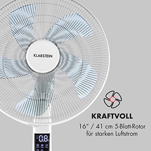 Klarstein Silent Storm 2019 Edition Standventilator mit Fernbedienung (Räume bis 80 m³ (~30 m²), 35 Watt, 12 Geschwindigkeiten, 5-Blatt-Rotor, 16″ (41cm) Durchmesser, Timer) weiß Bild 2*