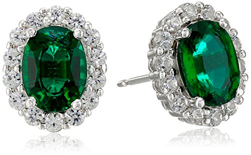 Amazon Collection Rhodium Plated Sterling Silver Created Emerald 8x6mm...