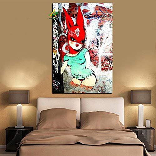 wZUN Graffiti Conejo Arte Impresiones abstractas Dibujos Animados Sexy Girl Pintura al leo Cuadro de Arte de Pared sobre Lienzo 60x90cm Sin Marco