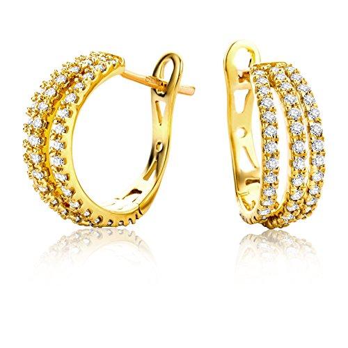 Miore Ohrringe Damen 0.6 Ct Diamant Creolen aus Gelbgold 18 Karat / 750 Gold, Ohrschmuck mit Diamanten Brillianten
