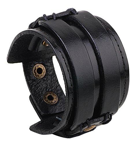 Hamoery Men Leather Bracelet Punk Braided Rope Alloy Bracelet Bangle Wristband(Black1)