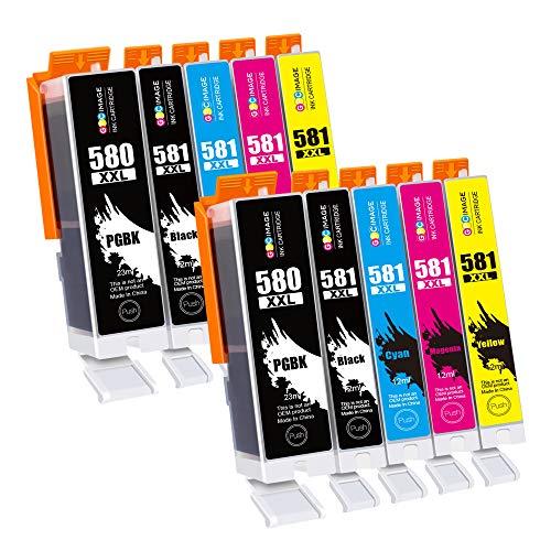 GPC Image PGI-580 CLI-581 XXL Druckerpatronen Kompatibel für Canon 580 581 Patronen für Canon Pixma TS6150 TS6151 TR8550 TR7550 TS6250 TS6251 TS8150 TS8151 TS8250 TS9550 TS9150(10-Pack, PGBK/BK/C/M/Y)