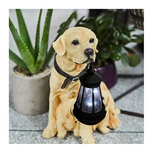 Nwn Solar-Dog Family Garden Statue mit LED-Leuchten, Kleine solarbetriebene Gartenlaterne 10,2 x 6,7 x 12,2 Zoll