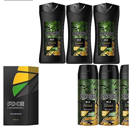8tlg. STUDIO.MUNET Set: 3x150ml Axe Wild Green Wood & Cedarwood Männer Deospray Deodorant Body Spray & 3x250ml Bodywash Duschgel & 1x100ml After Shave + 1 x Dustbag von STUDIO.MUNET