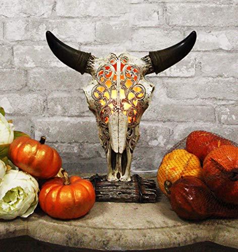 "Ebros 12.5"" Tall Southwest Aged Bone Tooled Filigree Lace Design Steer Bison Buffalo Bull Cow Horned Skull Head Night Light Lamp Centerpiece Side Table Decor Statue Skulls Western Accent Lighting"