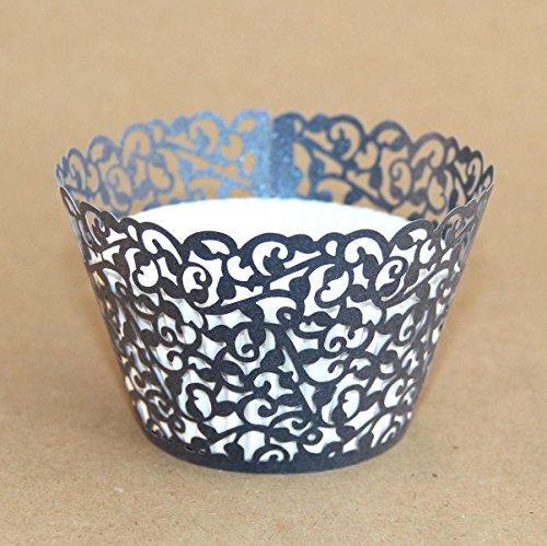 Miss Bakery's House® Cupcake Wrapper - Filigrane - Grau - 50 Stück