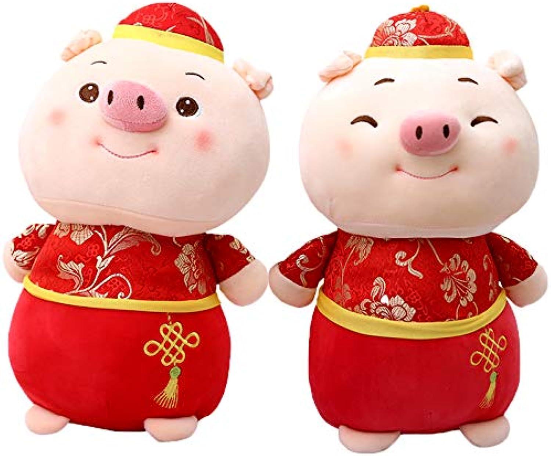 DONGER Pig Year Maskottchen Ferkel Puppe Festlich Sternzeichen Puppe Spielzeug Weihnachten Neujahr Geschenk, Volle Schwein Kombination, 25Cm