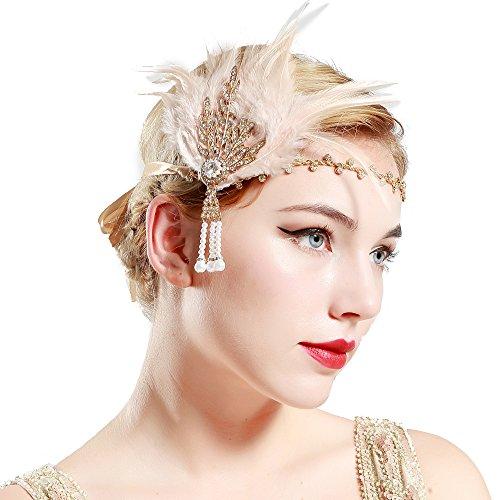 BABEYOND 1920s Stil Damen Feder Stirnband Flapper Art Deco Inspiriert von Great Gatsby Blatt Blinkende Kristalle Haarband (Champagner)