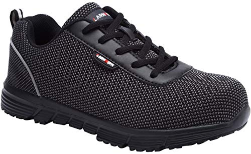 LARNMERN Steel Toe Work Safety Shoes Men Reflective Casual Breathable Outdoor Sneakers, LM30K (11, Pure Black)