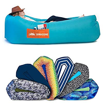 Chillbo Shwaggins Inflatable Couch – Cool Inflatable Chair. Upgrade Your Camping Accessories. Easy Setup is Perfect for Hiking Gear, Beach Chair and Music Festivals. (Cyan + Orange)