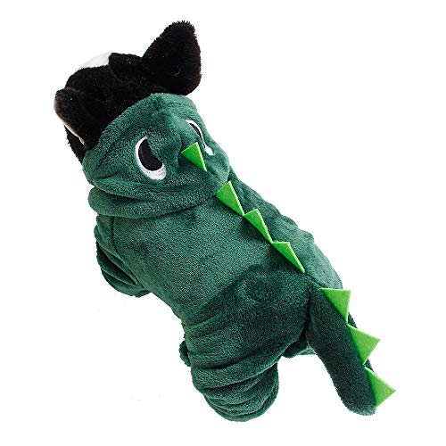 Hund Dinosaurier Kostüm, Hunde Katzen Dino Hoodies Overalls Puppy Kitty Phantasie Outfits Anzug Kleider Dinosaurier Cosplay Party Coat Herbst und Winter Warme Kleidung für Ihr schönes Haustier