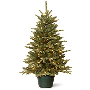 National Tree Company Artificial Christmas Tree For Entrances | Includes White Lights and Pot | Everyday Collections – 3 ft