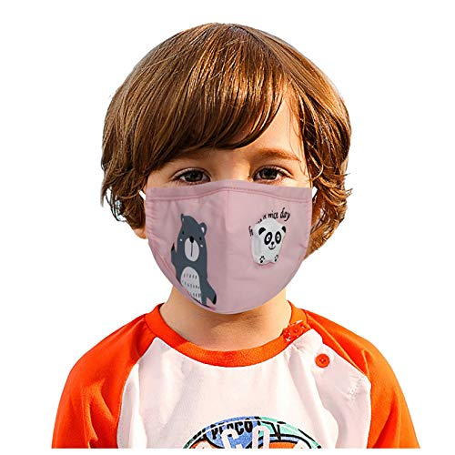 Barcley 1Pc Kids Dust Face_Cover with Breathing Valves,Washable &Reusable Face_Mask Warm Windproof Cotton Face Fabric with Filter Pocket,Adjustable Ear Loops with Lovely Cartoon Design